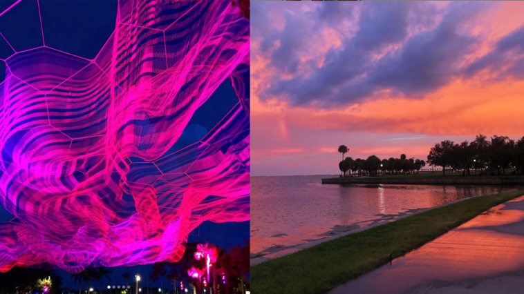 Image of Janet Echelman installation and sunset on the bay