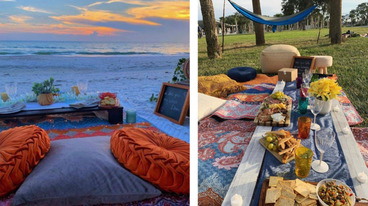 Image of outdoor picnic setups on the beach and park