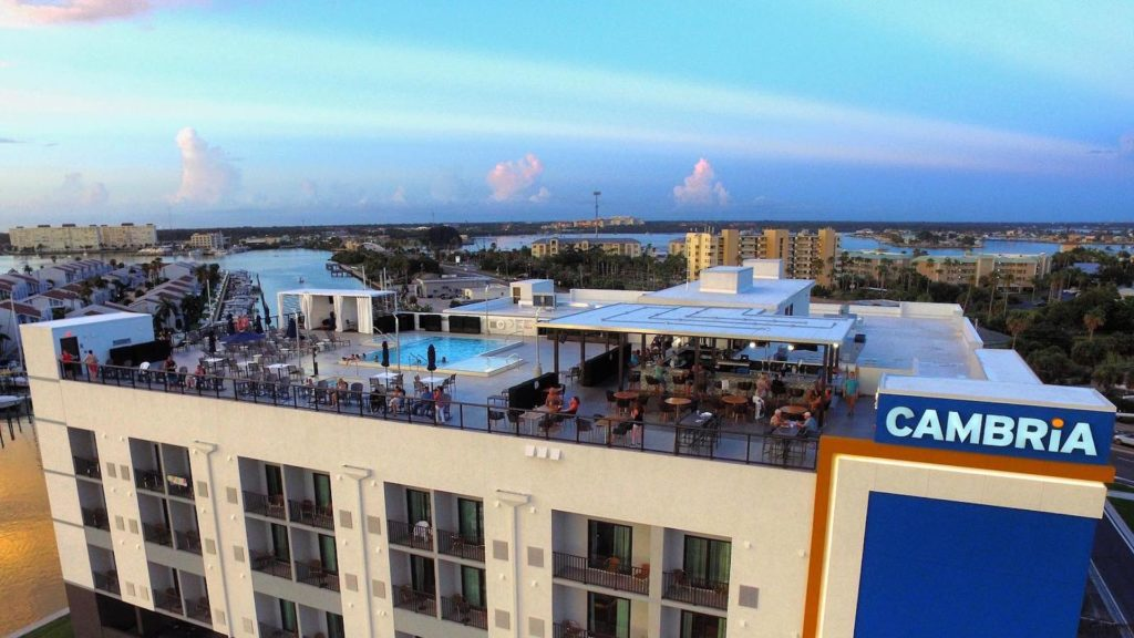 Aerial view of a rooftop bar and hotel on the Gulf Coast