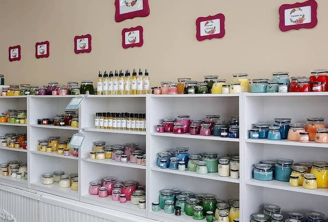 Interior of a gift shop featuring an array of candles