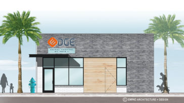 Rendering of new vet clinic with an orange logo on the front