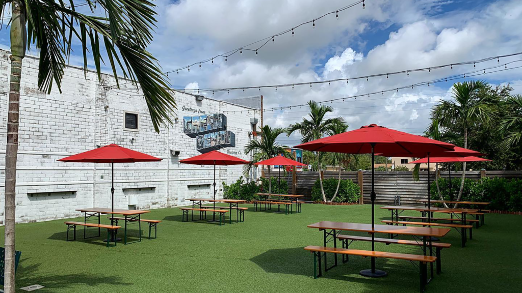 Outdoor beer garden with spaced out tables