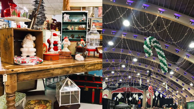 Interior photos of holiday markets with candy canes and Christmas tree