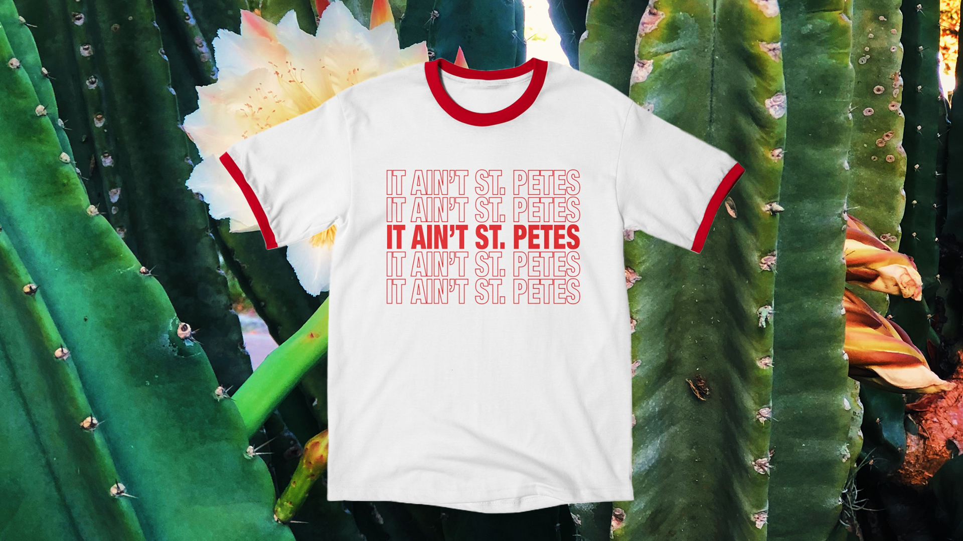 """red ringer t-shirt with """"it ain't st petes"""" thank you bag style design over cactus background"""