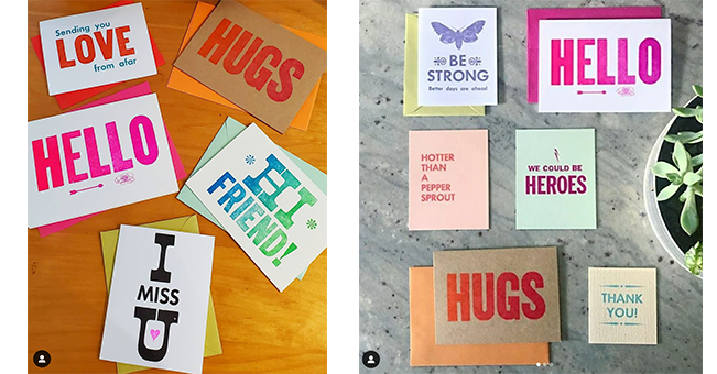 Assorted greeting cards reading Hugs, Hello, and Love