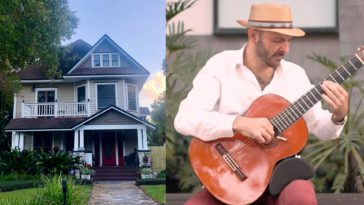 Exterior of a historic home, and a closeup of a guitarist