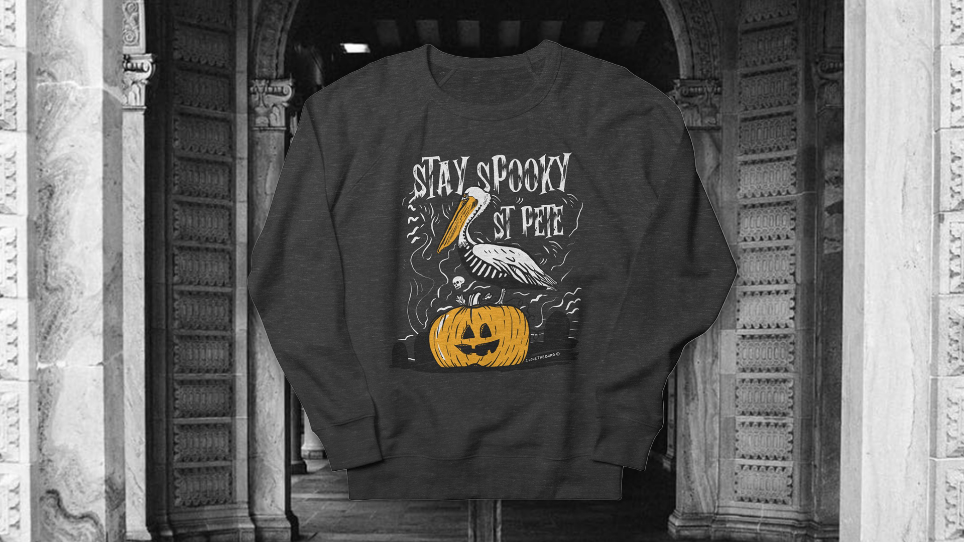 stay spooky st pete t-shirt design and pelican on pumpkin design - black and white post office background