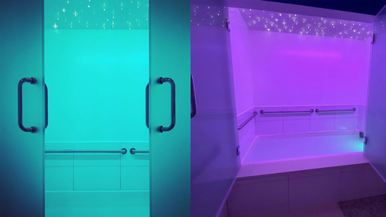 Inside purple and turquoise float rooms