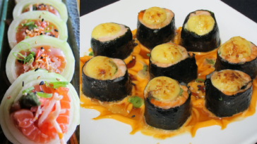 Photo of sushi rolls assorted on a plate