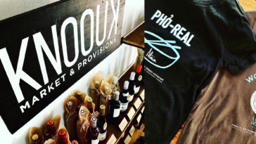 Inside a new locally run market with t-shirts and wines by the bottle