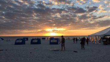 Sunset at St. Pete Beach with umbrellas