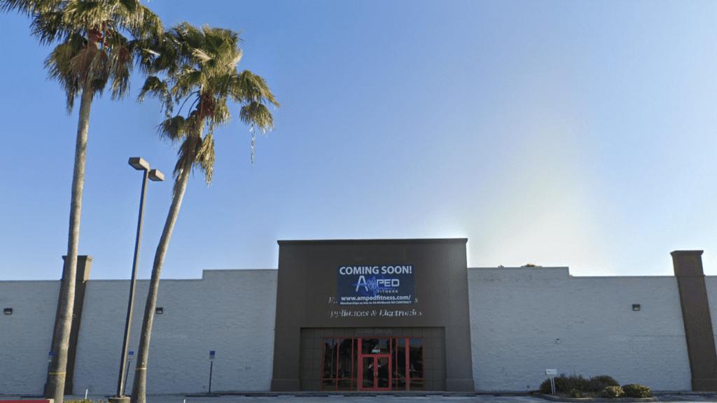 exterior of a massive concrete gym