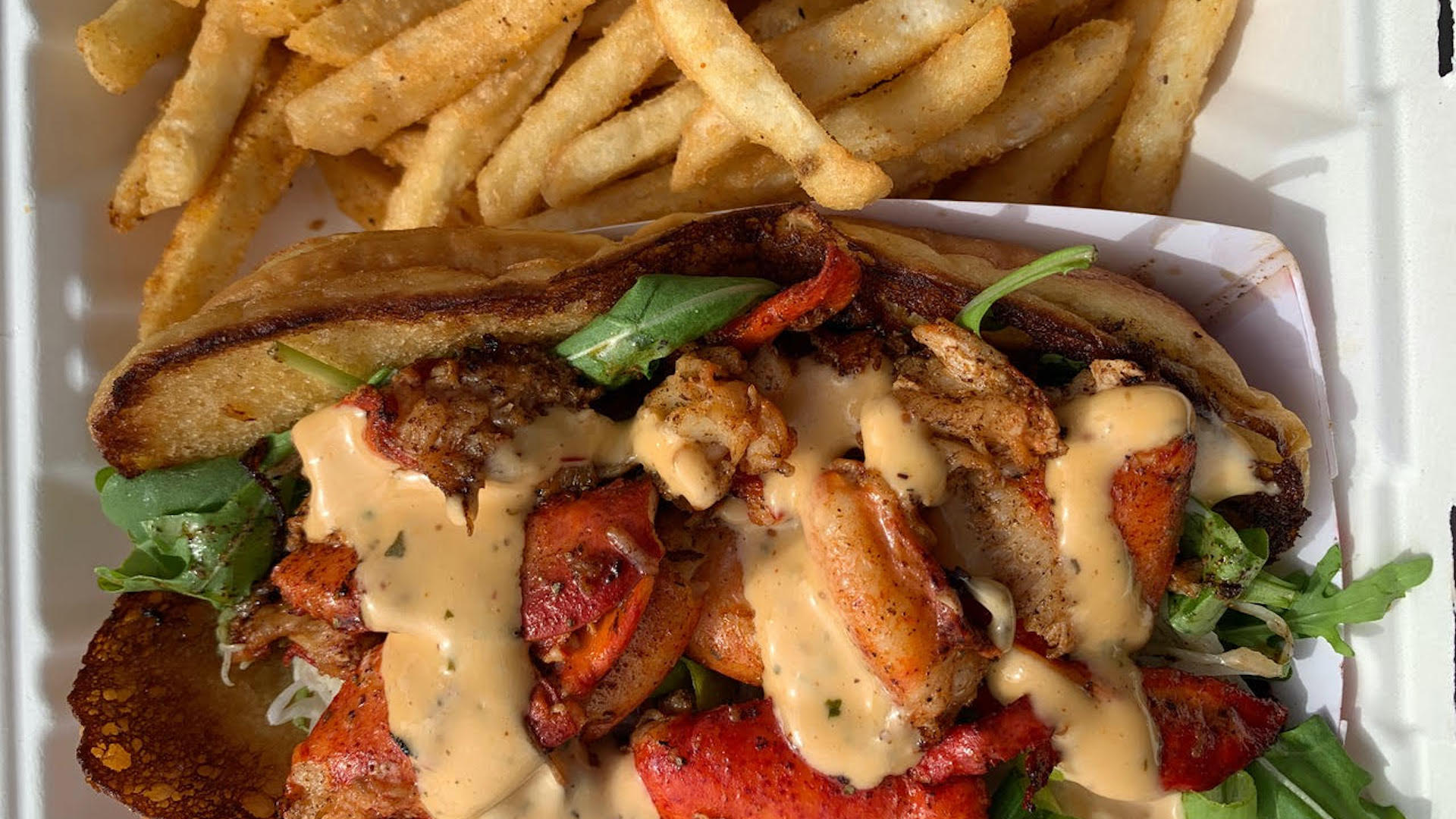 aerial shot of lobster roll with fries