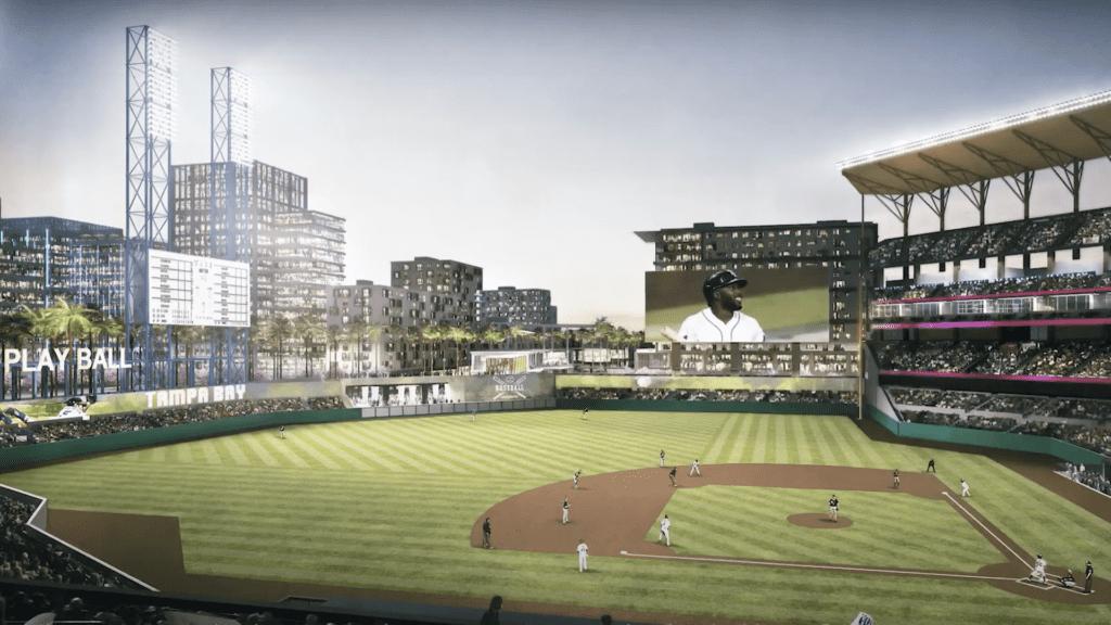 Rendering of an open air baseball stadium