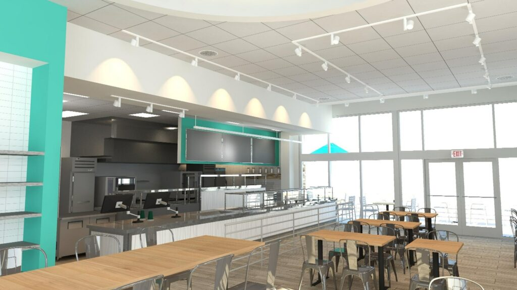 interior rendering of a counter service restaurant with blue walls