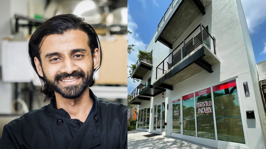 business owner headshot next to a three story building with twisted Indian sign in front window