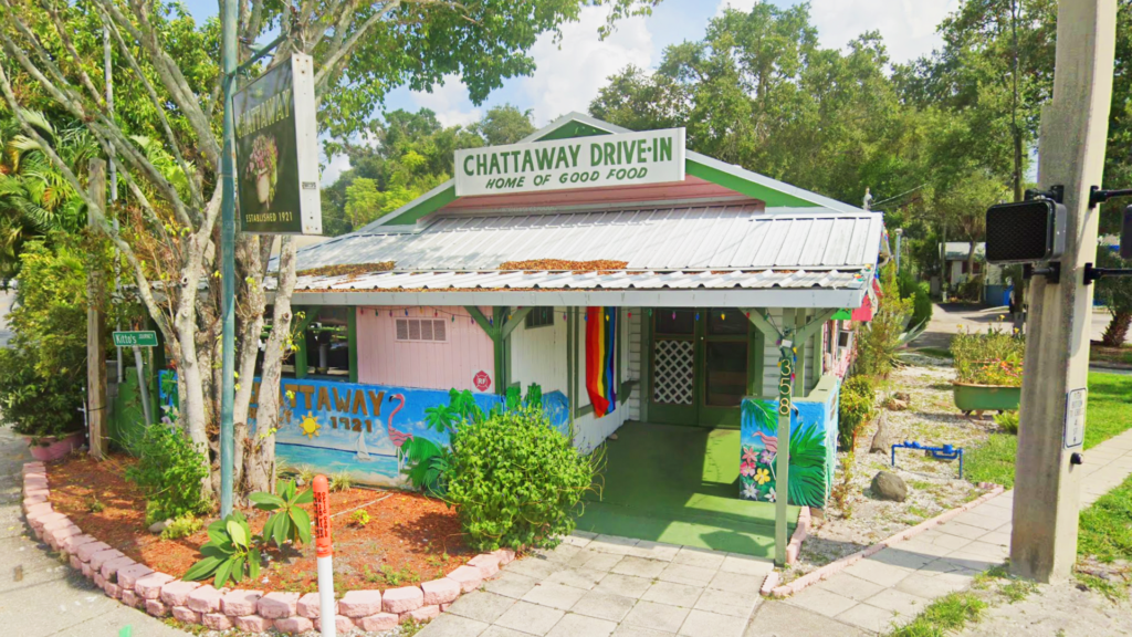 exterior of a restaurant with rainbow colors