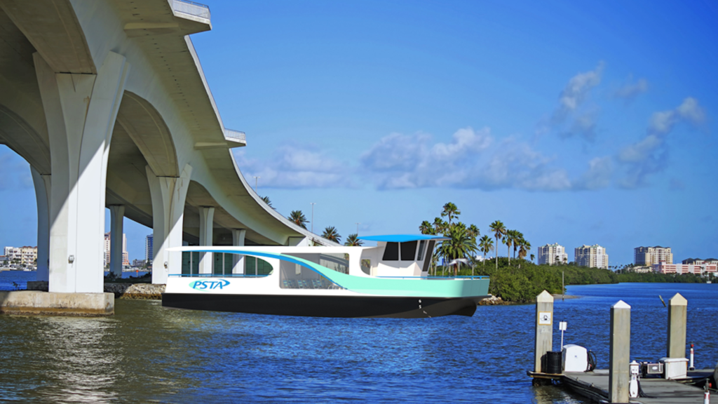 Rendering of a ferry passing under a bridge