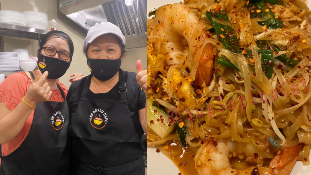 photo of two cooks in a kitchen, and a plate of pad Thai