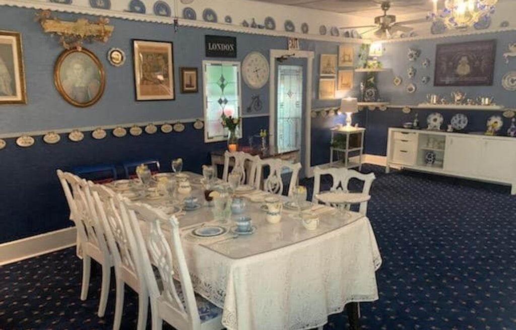 interior of a tea room with linen tabletops