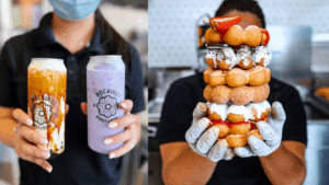 two tall glasses of boba tea, next to a stack of bubble donuts