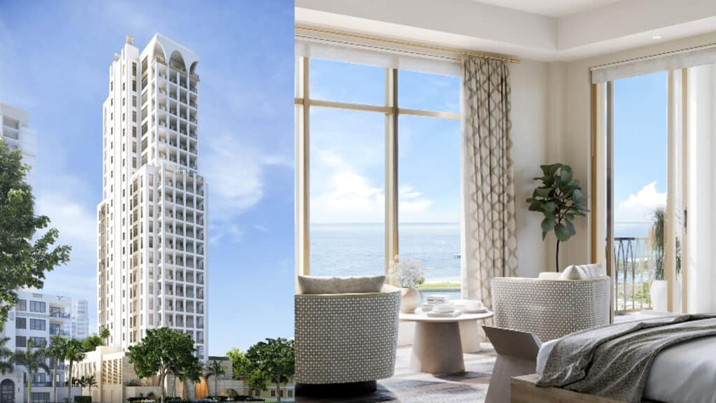 Split shot of white high rise building and inside bedroom with bay views